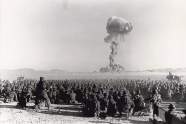 """Operation Buster-Jangle - Dog test — with troops participating in exercise Desert Rock I,"" November 1, 1951. Federal Government of the United States."