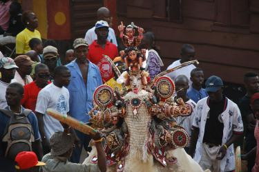 Masquerade performance, Freetown, Sierra Leone. Photo by Amanda M. Maples.