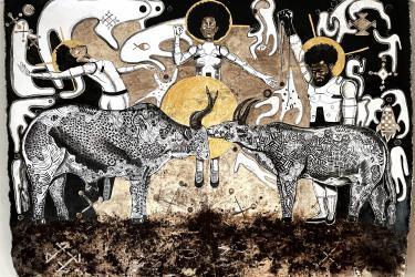 From the Ground Up!Ulubuto, Dimension: 180 x 130cm Medium: Acrylic and Coffee on Canvas Photo courtesy of the artist.