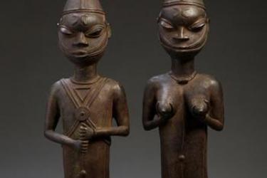 Edan Ogboni (male and female pair), Yoruba peoples (Ijebu-Igbo), Nigeria, Bronze, 20th Century. © Femi Akinsanya African Art Collection.