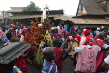 Masquerade performance, Freetown, Sierra Leone. Photo by Amanda M. Maples