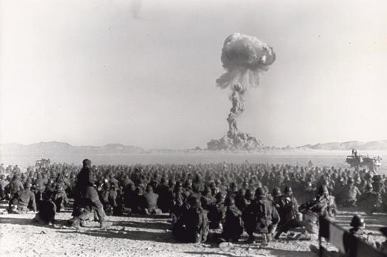 """""""Operation Buster-Jangle - Dog test — with troops participating in exercise Desert Rock I,"""" November 1, 1951. Federal Government of the United States."""