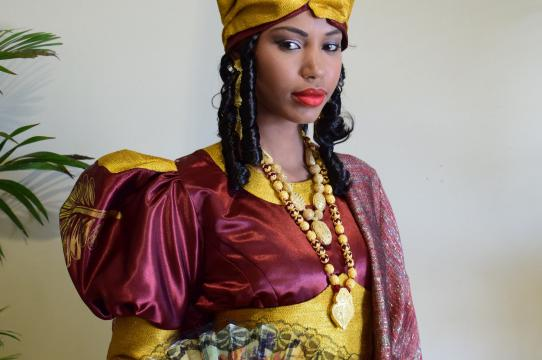 The newly-created full ensemble by contemporary fashion designer Oumou Sy, to be featured in the upcoming Good as Gold exhibition at the Smithsonian. Photo courtesy of Oumou Sy and the National Museum of African Art.