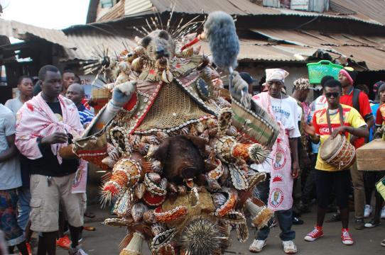 """Cutting Grass devil"", masquerade costume by Abdoulaye ""Taylor"" Kamaru, Oju Feray Cultural Ordehlay Society, Freetown, December 26, 2017. Photo by Amanda Maples."