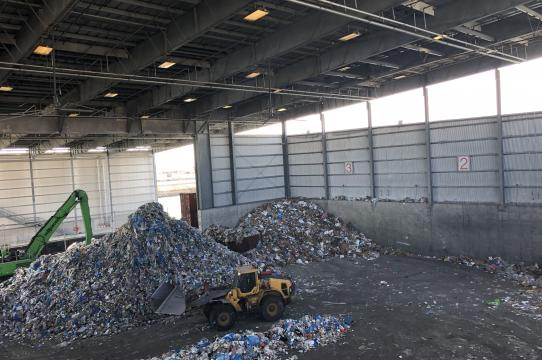 Inside SIMS municipal recycling in Sunset Park, Brooklyn. Photo by Heather Davis.