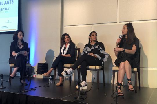 Tatiane Santa Rosa, facilitator, and panelists Frida Baranek, Noor Blazekovik, Roberta Pardo at the Broward Center for Performing Arts, Florida (May 2018). Photo Credit: The55Project.
