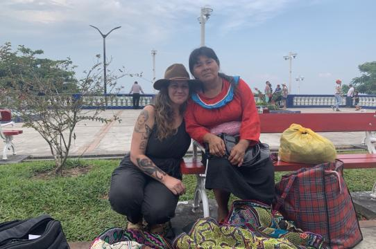 Alexandra and Shipibo textile artist, Silvia on the bank of the Amazon River, Iquitos, Peru, August 2019.