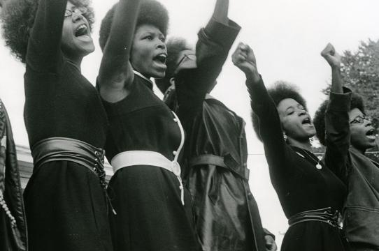 Black Panthers from Sacramento at a Free Huey rally, Bobby Hutton Memorial Park, Oakland. Photo by Pirkle Jones, from The Vanguard: A Photographic Essay on the Black Panthers (Boston:Beacon Press, 1968), courtesy UCSC Special Collections and Archives.