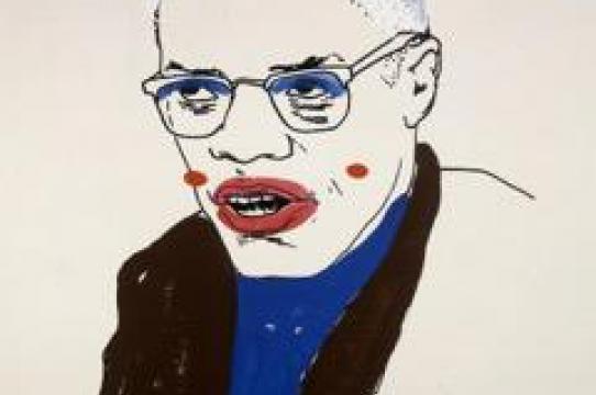 Glenn Ligon, Malcolm X (Version 1) #1, 2000, Vinyl-based paint, silkscreen ink, and gesso on canvas. 96 × 72 in. (243.8 × 182.9 cm).